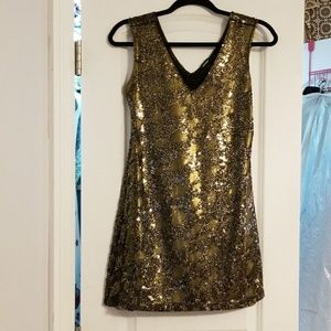Express Black and Gold Sequins Mini